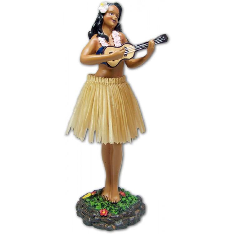 Leilani Dashboard Doll - Girl met Ukulele en natuurlijke rok - perfect wind