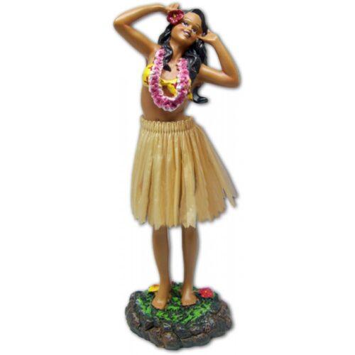 Leilani Dashboard Doll girl met twee handen op de hoofd en natuurlijke rok