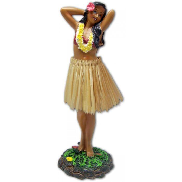Leilani Polyresin Dashboard Doll - poseert bloem met natuurlijke rok