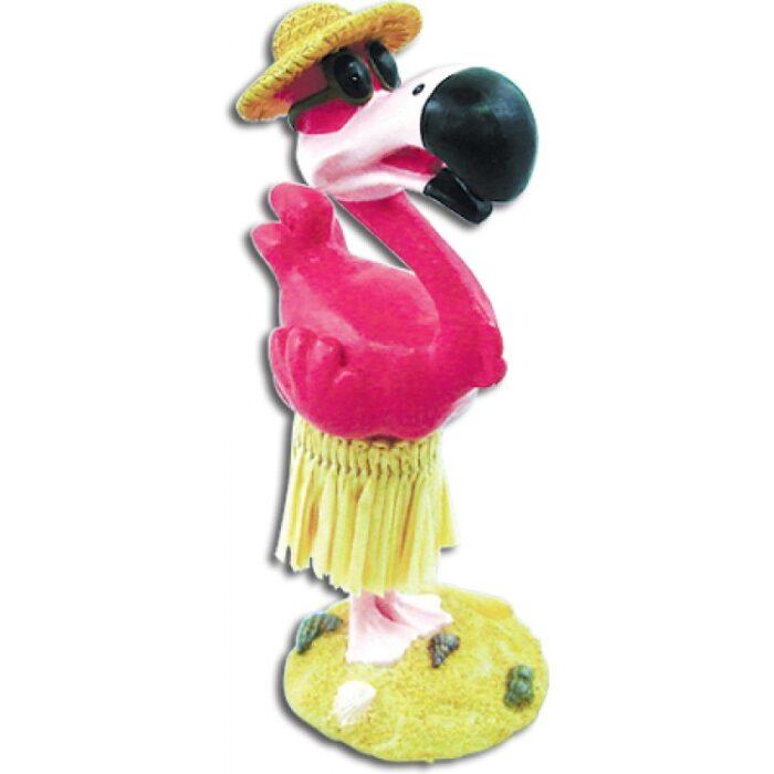 Miniature Dashboard Hula Doll - Flamingo met zonnebril - perfect wind