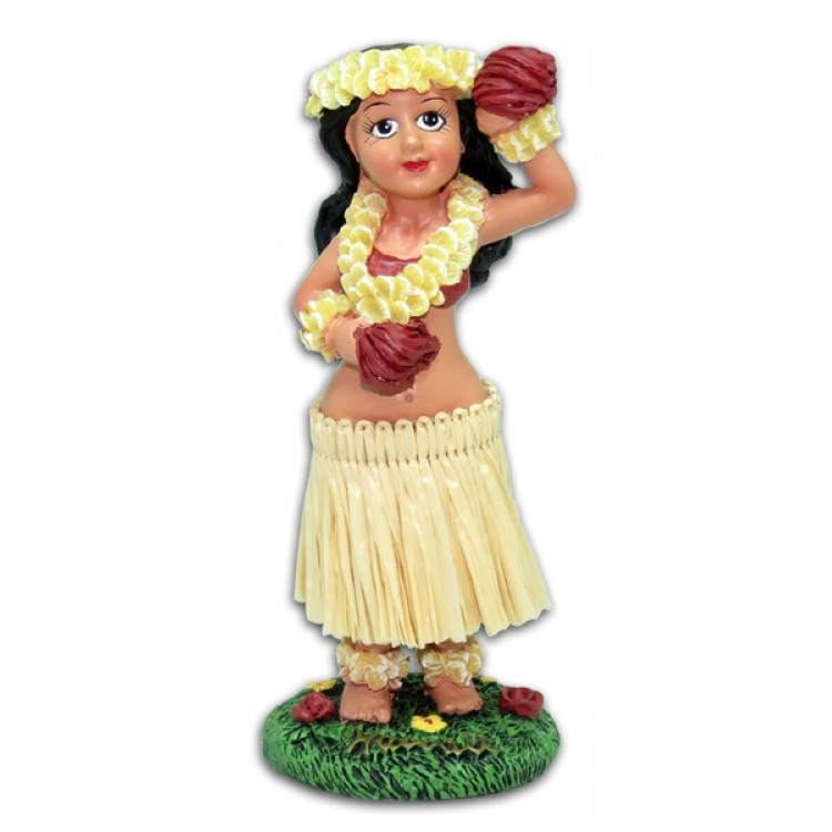 Miniature Dashboard Hula Doll - Girl met Flower