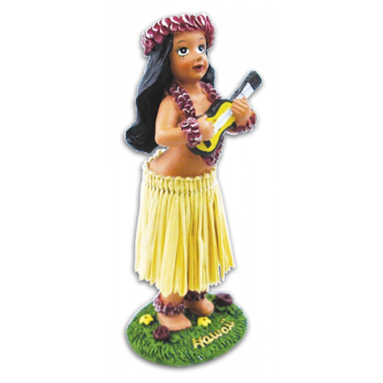 Miniature Dashboard Hula Doll - Girl met Ukulele