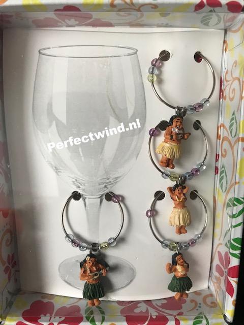 Hula Girl wijn markers set van 4 stuks