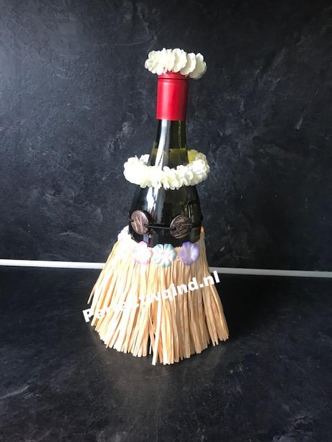 Wijn outfit hula rok met coconut top - natuurlijke rok