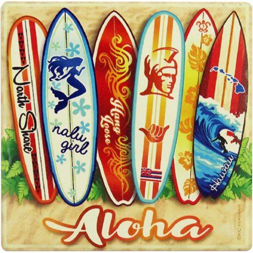 Zandstenen Aloha surfboards onderzetter